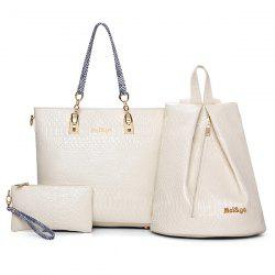 Faux Leather Crocodile Embossed Shoulder Bag - OFF-WHITE