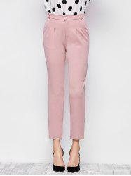 Elastic Waist Ninth Pants with Double Pocket