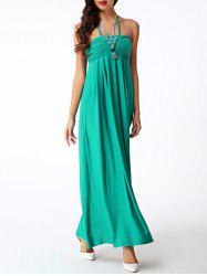 Halter Ruched Empire Waist Formal Maxi Dress