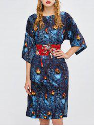 Peacock Feathers Print Slit Kimono Dress