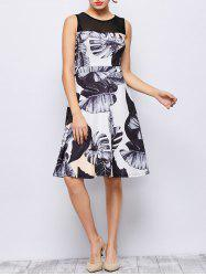 Sleeveless Leaves Print Knee Length Dress
