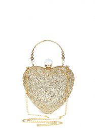 Heart Shape Metal Handle Evening Bag - GOLDEN