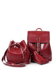 Flapped Buckle Strap Backpack Set -