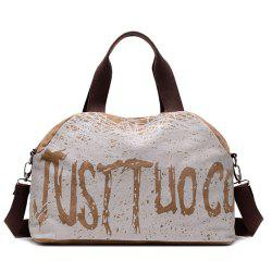 Canvas Graphic Printed Weekend Bag - COFFEE
