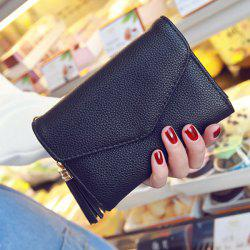 Textured Tassel Envelope Small Wallet - BLACK
