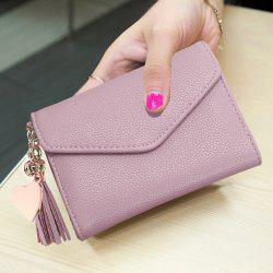 Textured Tassel Envelope Small Wallet - PINK