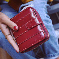 Stitching Bi Fold Faux Leather Small Wallet - WINE RED