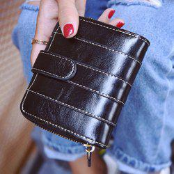 Stitching Bi Fold Faux Leather Small Wallet -