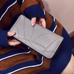 Stitching Zip Around Faux Leather Wallet - GRAY