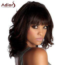 Adiors Medium Neat Bang Fluffy Wavy Synthetic Wig - BLACK