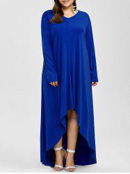 Plus Size High Low Maxi Evening Dress With Long Sleeves
