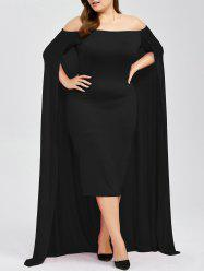 Off The Shoulder Plus Size Maxi Prom Caped Dress