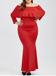 Plus Size Off Shoulder Overlay Prom Long Mermaid Dress