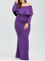 Plus Size Flounce Long Sleeve Mermaid Prom Party Dress