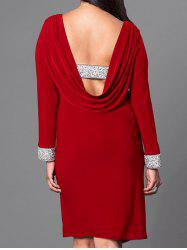 Plus Size Long Sleeve Backless Dress