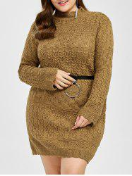 Plus Size Openwork Belted Jumper Dress