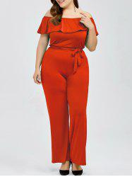 Off The Shoulder Flounce Plus Size Jumpsuit