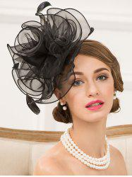 Fascinator Hairband Organza Floral Hat - BLACK