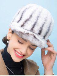 Vertical Striped Design Fur Baseball Cap