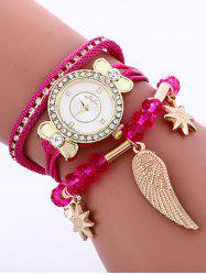 Layered Rhinestone Beaded Wing Bracelet Watch