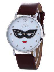 Rhinestone Mask Faux Leather Quartz Watch