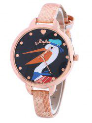 Faux Leather Swan Quartz Watch