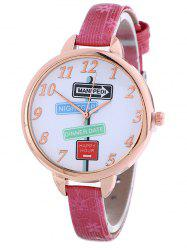 Faux Leather Guidepost Pattern Quartz Watch