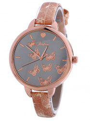 Faux Leather Butterfly Quartz Watch