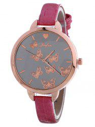 Faux Leather Butterfly Quartz Watch -
