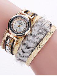 Layered Studded Faux Fur Bracelet Watch
