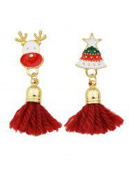 Christmas Tree Elk Asymmetric Tassel Earrings
