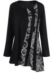 Plus Size Printed Asymmetric Tunic T-Shirt - BLACK