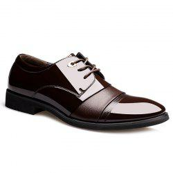 Pointed Toe Patent Leather Formal Shoes - DEEP BROWN 44