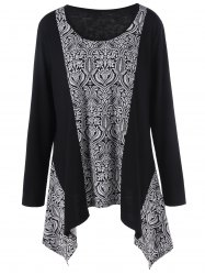 Plus Size Paisley Print Asymmetric Hem Top