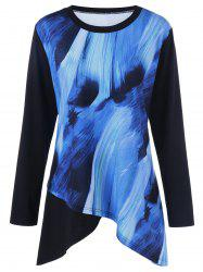 Plus Size Asymmetric Hem Printed Top