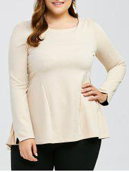 Long Sleeve Plus Size Peplum Top