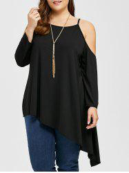 Plus Size Cold Shoulder Asymmetric Tee