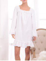 Lace Panel Flounced Princess Sleep Dress