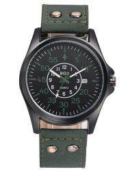 Faux Leather Calendar Watch with Waterproof Design - BLACKISH GREEN
