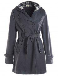 Stylish Hooded Double-Breasted Long Sleeve Worsted Coat For Women -