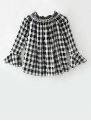 Smocked Plaid Off The Shoulder Top