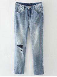 Light Wash Destroyed Jeans