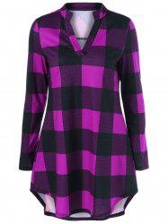 Split Neck Long Plaid Boyfriend T-Shirt -
