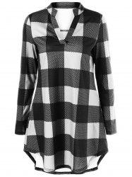 Split-Neck Long Plaid Boyfriend T-Shirt - WHITE AND BLACK