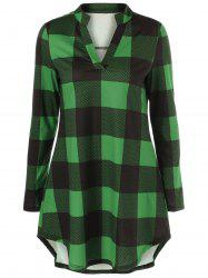 Plaid Split-Neck T-Shirt