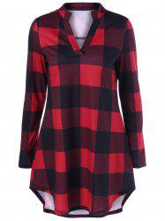 Split-Neck Long Plaid Boyfriend T-Shirt - RED WITH BLACK