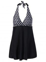 Retro Plus Size Polka Dot Halter Skirted Swimwear