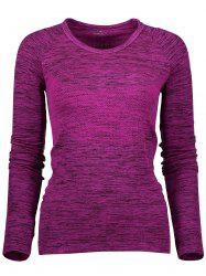 Space Dye Long Sleeve Running Top - PURPLISH RED