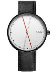 Faux Leather Long Analog Big Dial Watch - WHITE AND BLACK