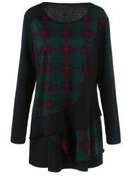 Plus Size Plaid Trim Overlay Long Sleeve T-Shirt -